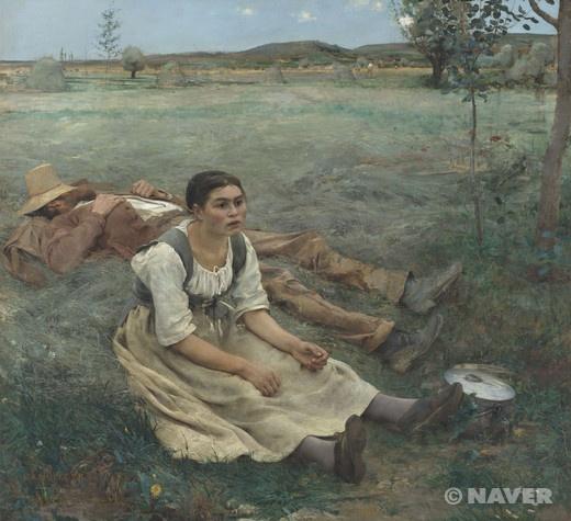 건초더미 (Les foins) 쥘 바스티앙 르파주(Jules Bastien-Lepage)   작품해설 :이 작품은 일상적인 모습을 한 남녀가 풀밭에서 쉬고 있는 모습을 담고 있다. 졸라는 이 작품을 매우 좋아했으며 자연주의의 대작이라고 평가하였다. 실제로 이 작품은 밀레의 《낮잠(Sieste)》에서처럼 농부 부부의 휴식을 다루고 있다. 하지만 밀레가 다소 대담한 구성으로 인물의 자세에 더 주목을 해서 표현하였다면, 바스티앙-르파주의 이 작품은 드넓은 초원과 그 한 구석에서 휴식을 취하는 부부의 모습을 보다 사실적으로 나타낸다.   감상평: 넓은 대지 들판을 배경으로 휴식을 취하는 부부를 편안하게 표현하고 있다. 농부들의 고단함과 수수함을 동시에 잡아낸 듯 하다.