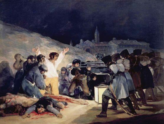 <1808년 5월 3일 마드리드>, 1814 나폴레옹의 스페인 침공을 보여주는 작품이다. 잔인하고 충격적인 장면 묘사를 통해 그림을 감정적으로 바라보게 만든다. 나폴레옹의 군인들은 모두 같은 자세로 기계적으로 묘사되어 있다. 시민들은 다양한 심리적 반응을 보여준다. 이 작품을 실제로 있었던 사건을 표현했는데, 밤에 일어난 사건이기 때문에 작품의 뒷부분은 어둡다. 하지만 앞 부분에는 등으로 인해 밝다. 그리고 등보다 더 밝은 사람이 있다. 그는 흰 옷과 노란 바지를 입고 있고, 그 자체에서 빛이 나오는 듯 하다. 만세를 하고 있는 모습은 십자가에 못 박힌 예수를 떠올리게 한다. 자세히 보면 그의 손바닥에는 못 자국도 있다. 이는 그리스도가 인간을 구원한 것처럼 스페인도 구원을 받을 것임을 의미한다.   고야가 마리아와 헤어진 후의 작품이다.