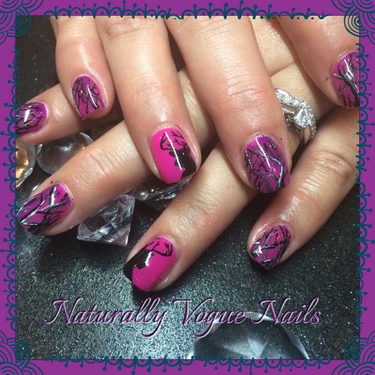 into the woods, country nail art, camo nails, hand painted nail art, naill innovationz gel nails