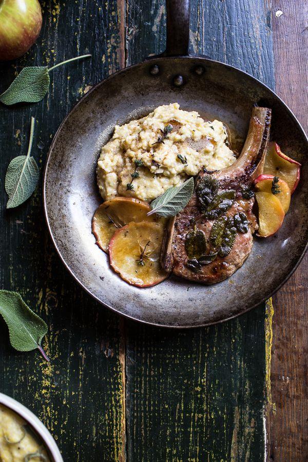 Cider Apple and Sage Roasted Pork Chops with Brown Butter Gorgonzola Polenta | halfbakedharvest.com