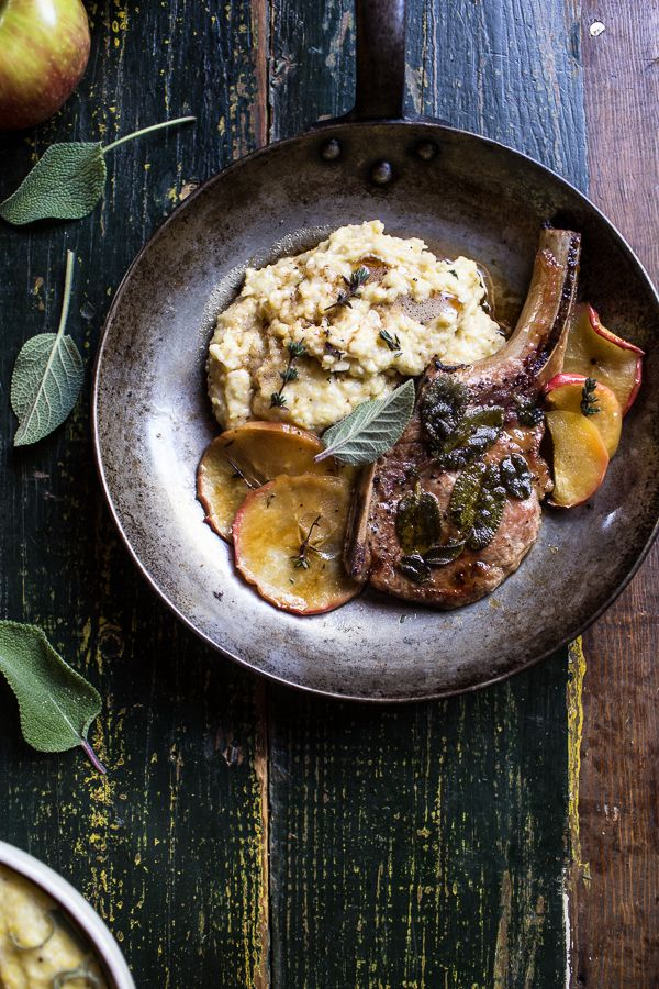 Cider Apple and Sage Roasted Pork Chops with Brown Butter Gorgonzola Polenta | halfbakedharvest.com @hbharvest