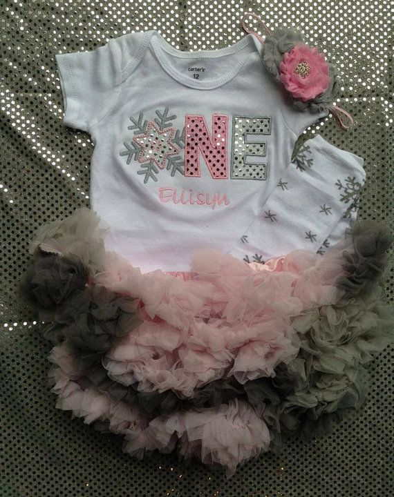 Pink and silver shimmer winter ONEderland birthday outfit - 1st birthday outfit - snowflake birthday shirt