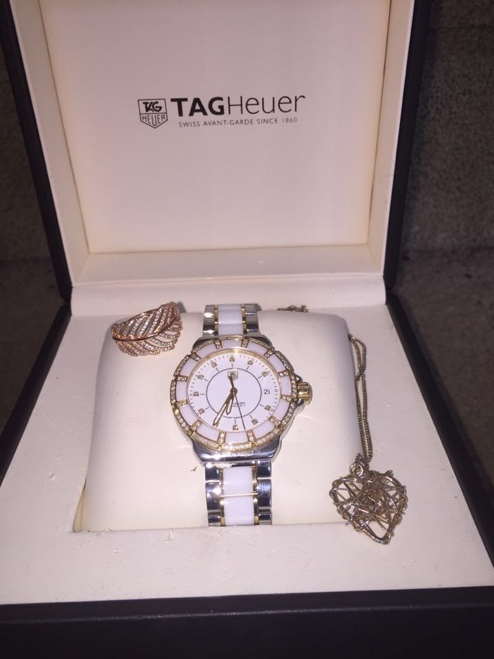 Watch- TAG Heuer Formula 1, Gold with 95 diamonds. Ring- Pandora Rose Gold Necklace- Gold love heart necklace