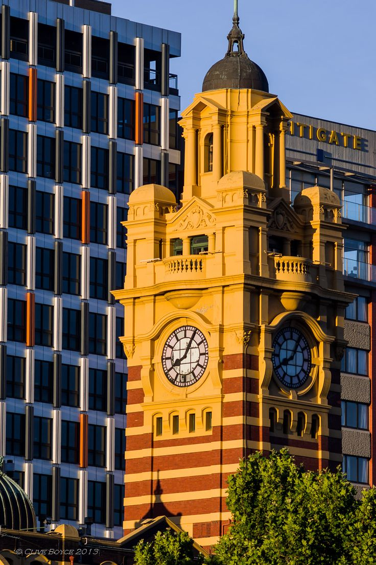 The dome and clock tower of Flinders Street Station, Melbourne, Australia