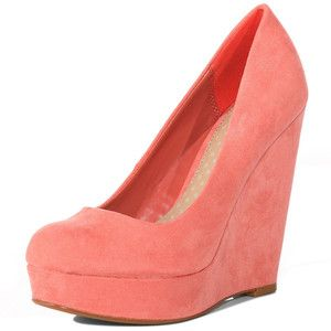 coral round-toe suede wedges: Coral Square, When Wedges, Pink Wedges, Color, Shoes 3, Coral Wedges