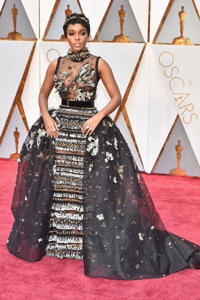 Oscars 2017 Red-Carpet Dresses | British Vogue  Janelle Monae wore an embellished Elie Saab autumn/winter 2016 couture gown.