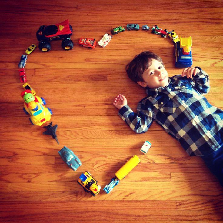 3 Year Old Boy Photo Idea. A boy & his cars.