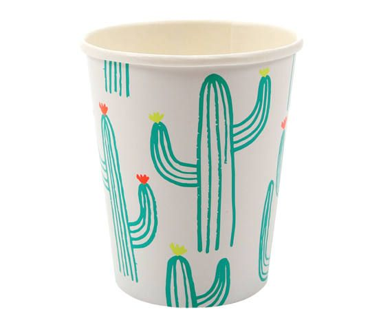 Cactus Cups | taco nacho bar fiesta mexican mustache sombrero cactus theme party decorations banner