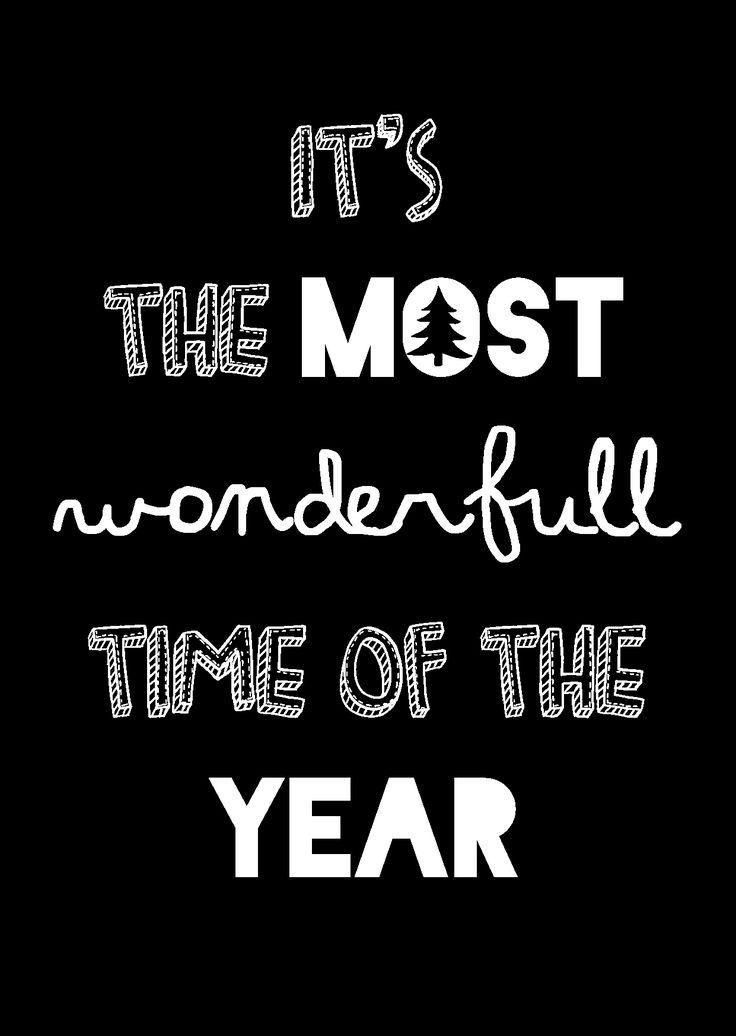 """Kerstkaart zwart wit met de quote """"It's the most wonderfull time of the year"""" van Studio Inktvis. Zwart wit is de trend van 2014."""