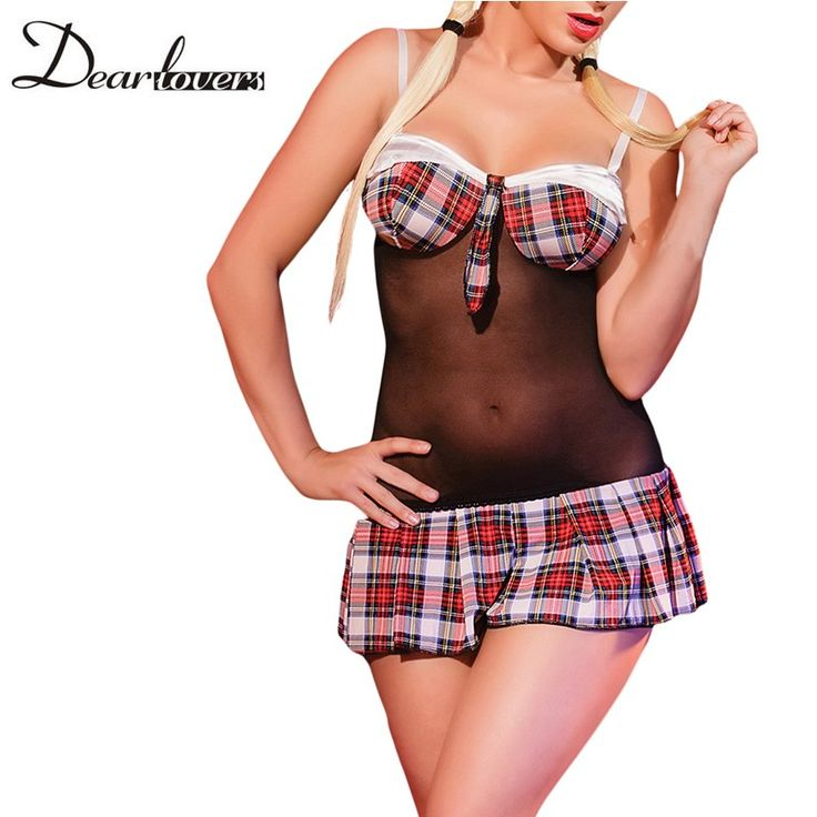 Dear lover Sexy School Girl Costume Plaid Cups and Skirt Schoolgirl Chemise Deguisement Adultes Women Nightwear Lingerie LC8970 #Affiliate