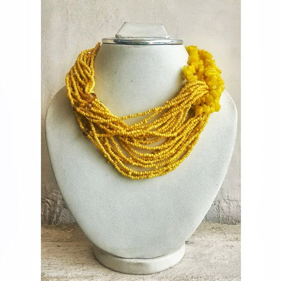 Yellow Bib Necklace/Statement Necklace/Beaded by FootSoles on Etsy, $28.90