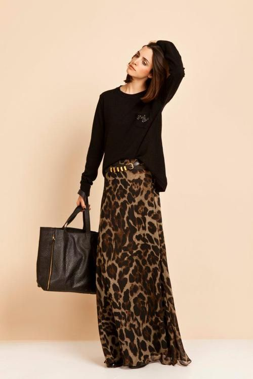 If I ever had a reason to wear a skirt...this would be it.  Fall Trend: Leopard Maxi and Black Sweater
