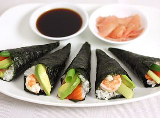 Sushi hand rolls recipe - Sushi hand rolls are a fun and delicious change from regular sushi. make the hand rolls in advance, or simply lay out all the ingredients on a table and let your guests create their own rolls with their favorite fillings.