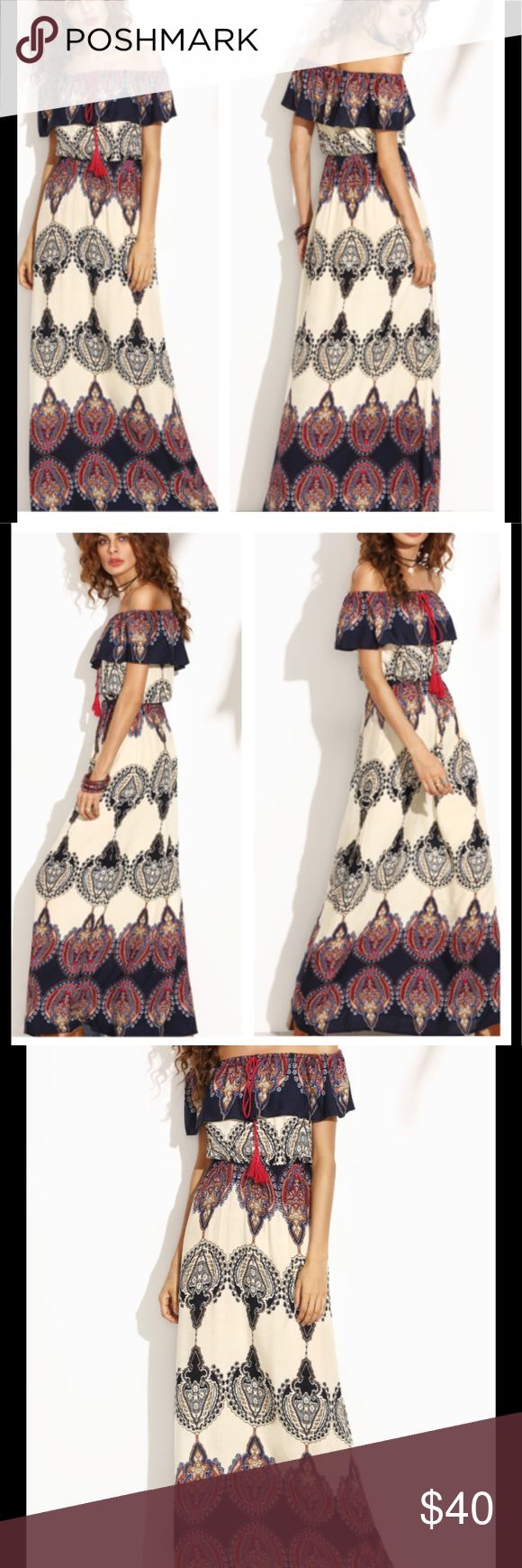 Tribal Boho Off Shoulder Dress ✨Material: 100% Rayon ✨Fabric: Fabric has no stretch ✨Bust(Cm): XS:94cm, S:98cm, M:102cm, L:106cm ✨Waist Size(Cm): XS:60cm, S:64cm, M:68cm, L:72cm ✨Length(Cm): XS:154cm, S:155cm, M:156cm, L:157cm ✨Please allow 14 days for delivery  ✨Brand used for exposure Missguided Dresses Maxi
