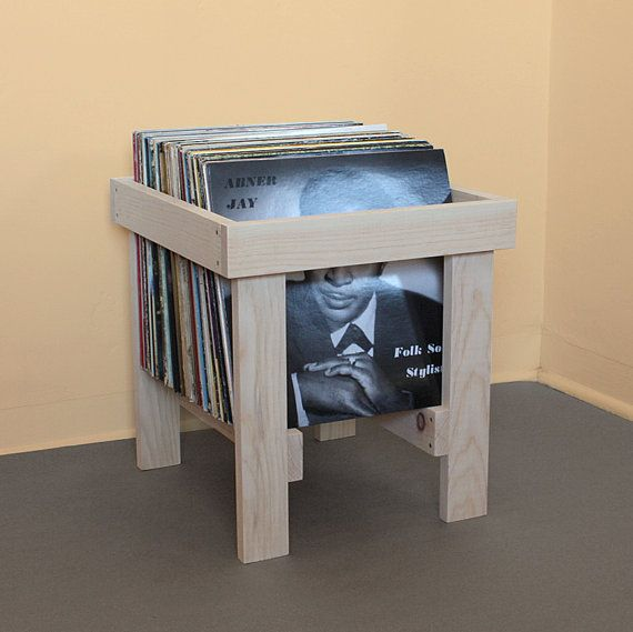 Love the design of this handmade LP record crate; traditional joinery would really put a shine on it.