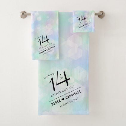 Elegant 14th Opal Wedding Anniversary Celebration Bath Towel Set - elegant wedding gifts diy accessories ideas #weddinganniversarygifts