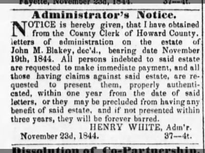 Howard County Missouri News ~ Estate of John M. Blakey