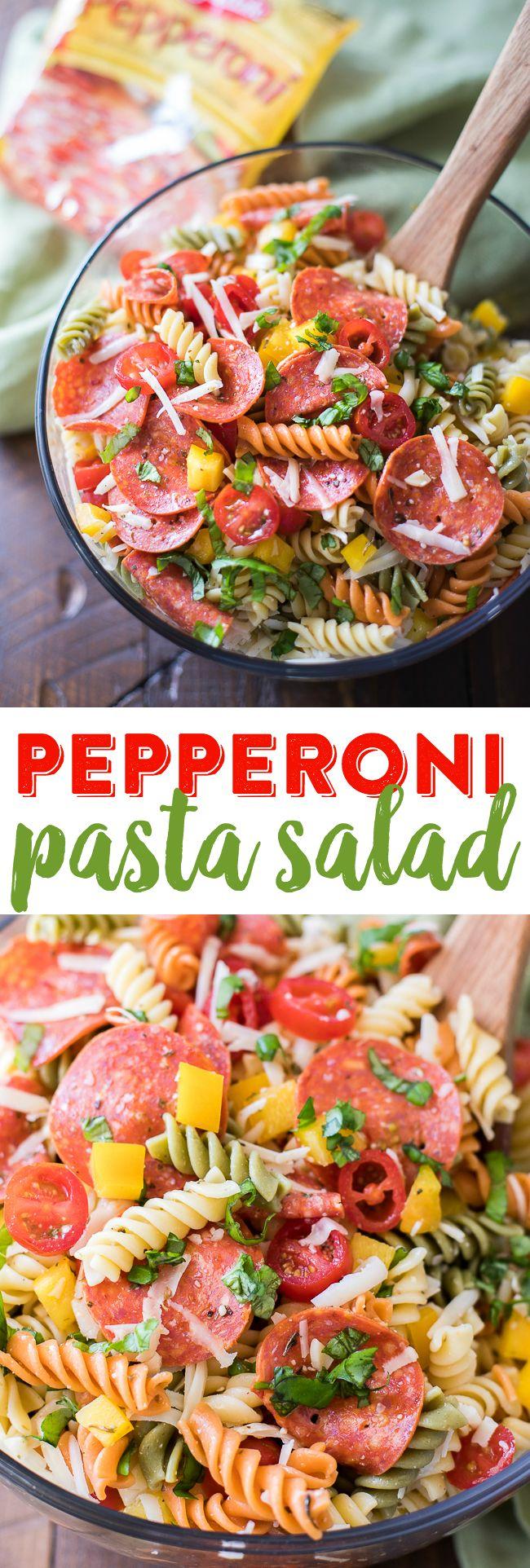 Pepperoni Pasta Salad Recipe | Tri-Color Pasta Salad Recipe | Italian Pasta Salad | Rainbow Pasta Salad #AD