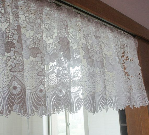 white lace valance cafe curtain wide x long french country style shabby chic lace curtain panel
