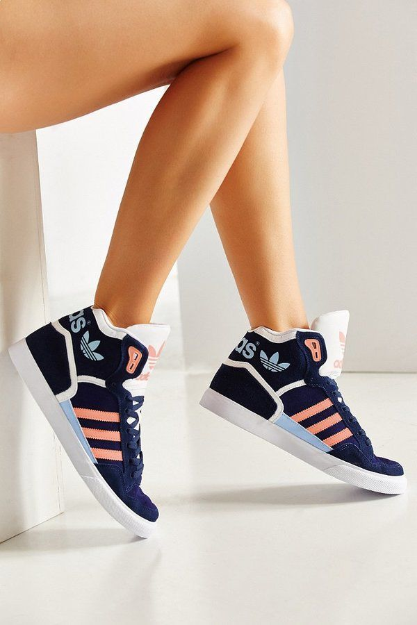 72a56be38d34 Give your look some sporty fun with these high top sneakers from adidas.  Suede upper with leather accents + contrast tonal reflective detailing.   Sneakers