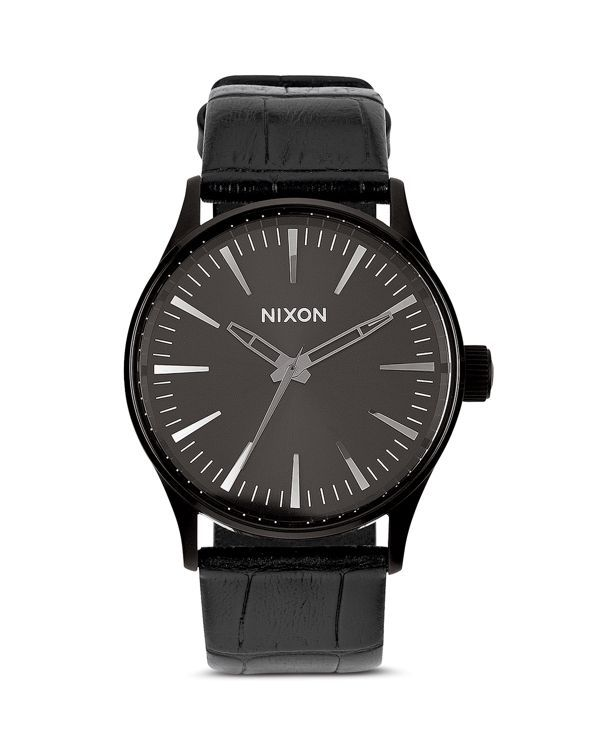 Nixon The Sentry Alligator-Embossed Leather Strap Watch, 38mm