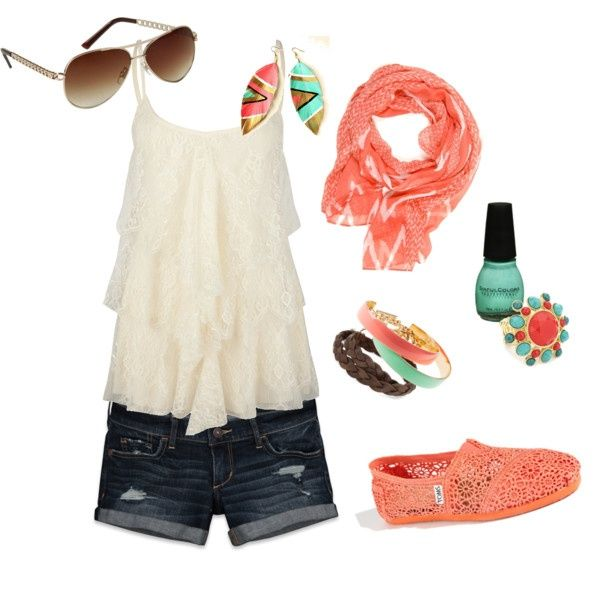 First creation on Polyvore by myself(:  Coral and Teal Summer(:Lace Tom, Coral, Summeroutfit, Fashion, Style, Clothing, Cute Summer Outfit, Summer Outfits, Dreams Closets