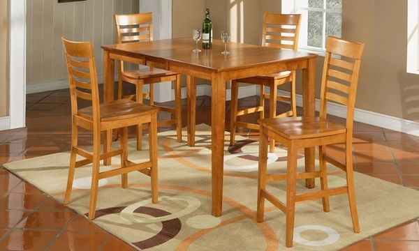 5 Piece Solid Wood Counter Height Dining Set Living Room Decor Brown Couch Dining Room Small Dining Room Furniture Sets