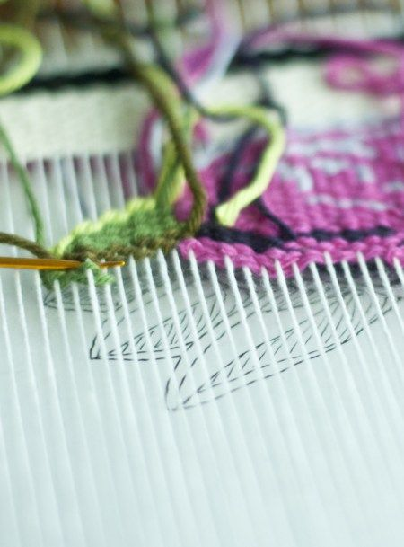 how to change weft colors in weaving