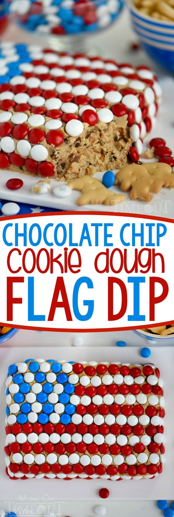 Celebrate with this outrageous Chocolate Chip Cookie Dough Flag Dip this 4th of July weekend! Edible chocolate chip cookie dough is loaded with toffee bits and peanut butter chips for the most delicious dip ever! Decorated in red, white, and blue, this easy dessert recipe is perfect for Memorial Day and Labor Day weekend as well!:
