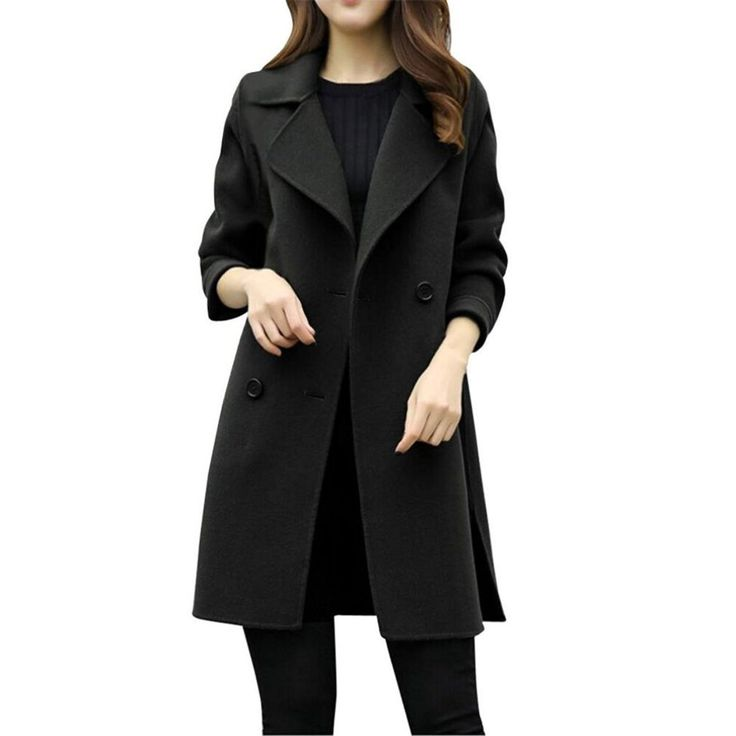 Vovotrade Womens Windbreaker Double Breasted Jacket Parka Cardigan Slim Casual Coat