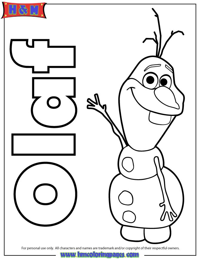 Olaf The Snowman From Frozen Movie Coloring Page