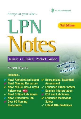 LPN Notes: Nurse's Clinical Pocket Guide (Davis's Notes Book) by Ehren Myers RN http://www.amazon.com/dp/0803627661/ref=cm_sw_r_pi_dp_z.XUvb1X2PDTZ