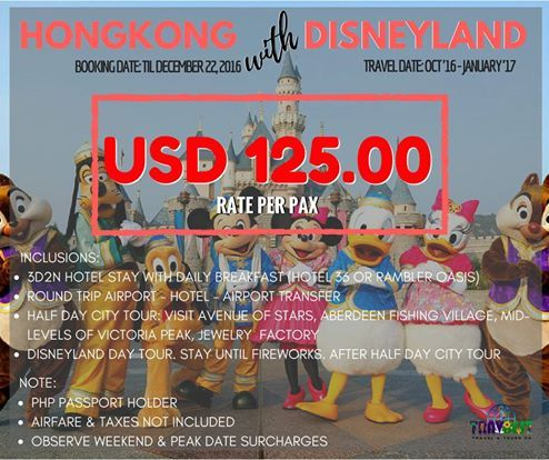 Hongkong Disneyland Promo '16 for USD 125.00/PAX (Travel Date: October '16 - January 5, '17)   Book not later than December 22, 2016 to avail promo rates!!!   Inclusions: * 3d2n accommodation in Hotel 36 or Rambler Hotel  * Daily Breakfast * Round Trip Airport Transfer * Compulsary Half Day City Tour via SIC * Disneyland Day Tour. Stay until fireworks (after City Tour) #hongkong #hktour #hongkongpackages #hongkongwithdisneylanf #disneyland #ramblerhotel #hotel36 #disneylanddaytour…