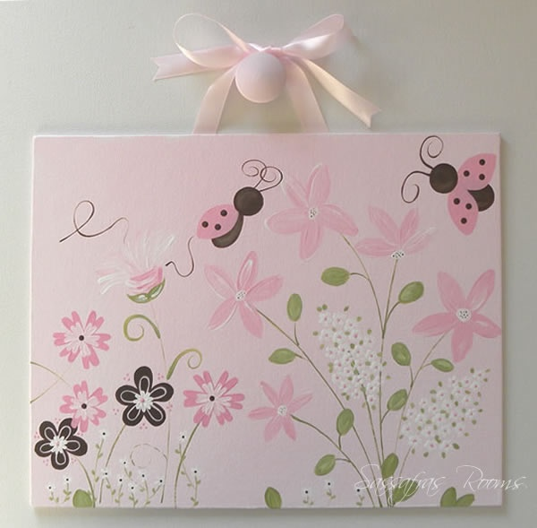 Love Bug Ladybug & Flowers Pink And Brown Wall Art