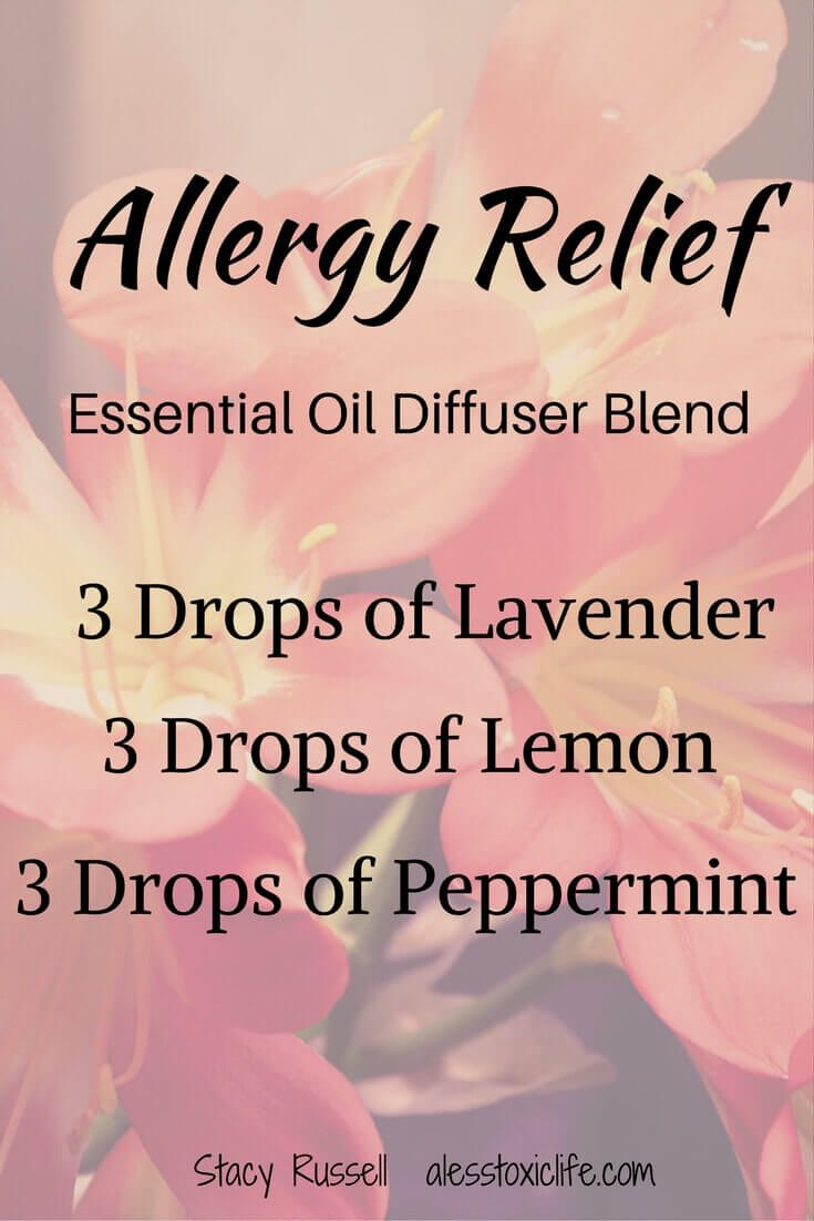 Essential Oil Blend for Allergies. I put this combination of oils in the diffuser when my girls are suffering from allergies. It helps them sleep.