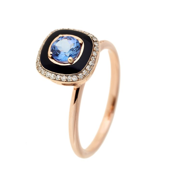 Pink gold and black enamel ring set with diamonds and tanzanite