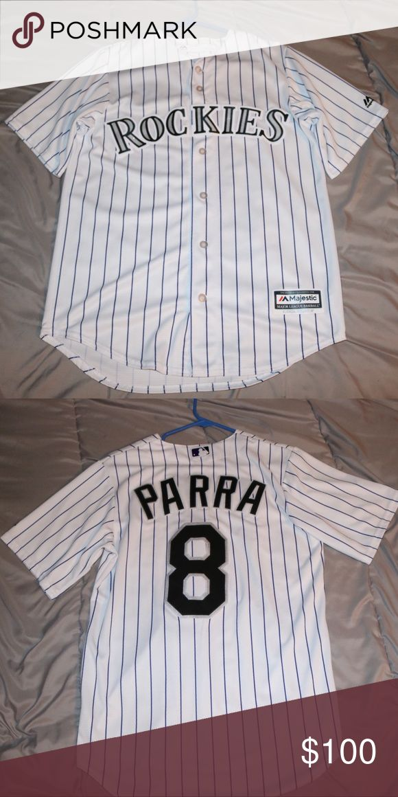 Gerardo Parra jersey. This is an Authentic Majestic Gerardo Parra white jersey. Bought in the MLB shop at Coors field. Worn once. Size small. Majestic Shirts Tees - Short Sleeve