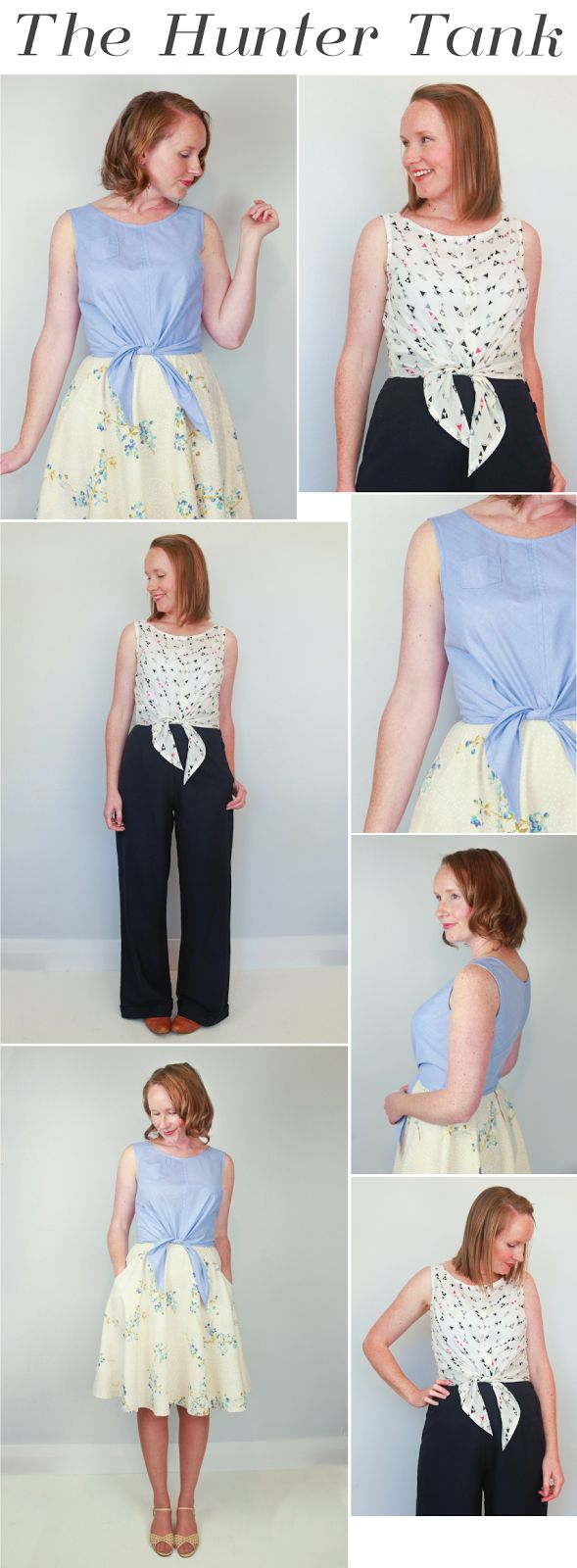 Introducing The Hunter Tank, A New Summer Sewing Pattern. Tie waist blouse.