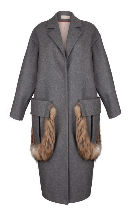 Grey Cashmere Coat with Dyed Fur Trimmed Pockets