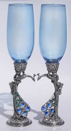 blue peacock heart wedding glasses