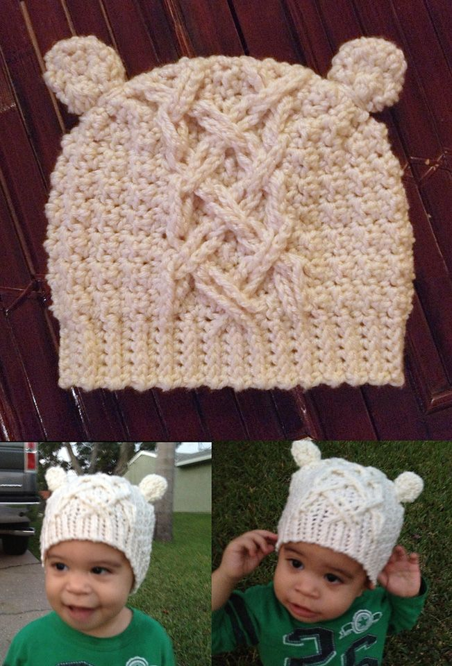 Little Bear Cable Crochet Hat. Great pattern and cables SO EASY to do and pattern well illustrated I made by Two Girls Patterns. This one was a little to small for my Punker's huge head (made the toddler size for him) but will make child 2-3 size for him next winter.