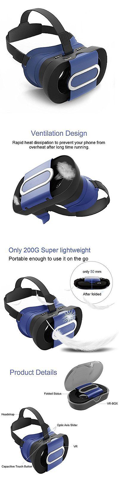 Smartphone VR Headsets: Headset Vr Glasses Virtual Reality 3D Games For Android Ios Iphone Samsung Blue BUY IT NOW ONLY: $30.07