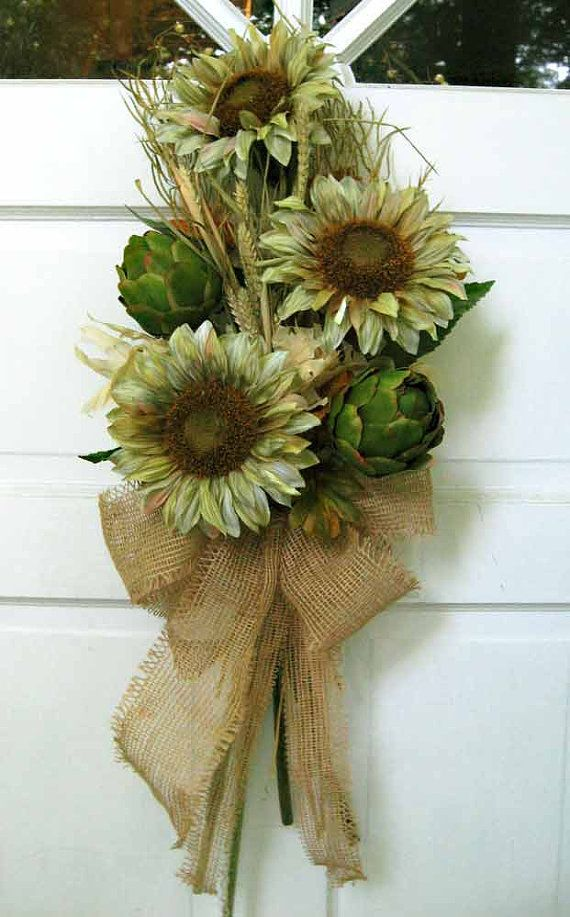 Artichokes 'n sunflowers for door fall by ForestnShoreNaturals, $78.00