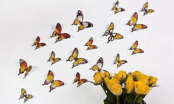Wandtattoo 3D - Schmetterlinge - Gelbtöne http://www.wandkings.de/wandtattoo-3d-schmetterlinge-gelbtoene.html