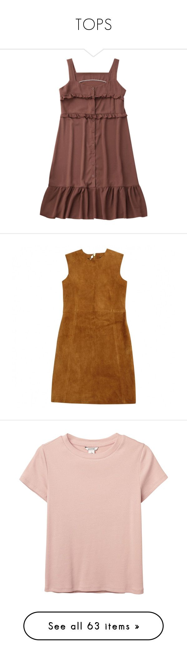 """""""TOPS"""" by sxmething-like-fate ❤ liked on Polyvore featuring dresses, brown, women clothing dresses, brown dress, pre owned dresses, preowned dresses, tops, t-shirts, shirts and blusas"""