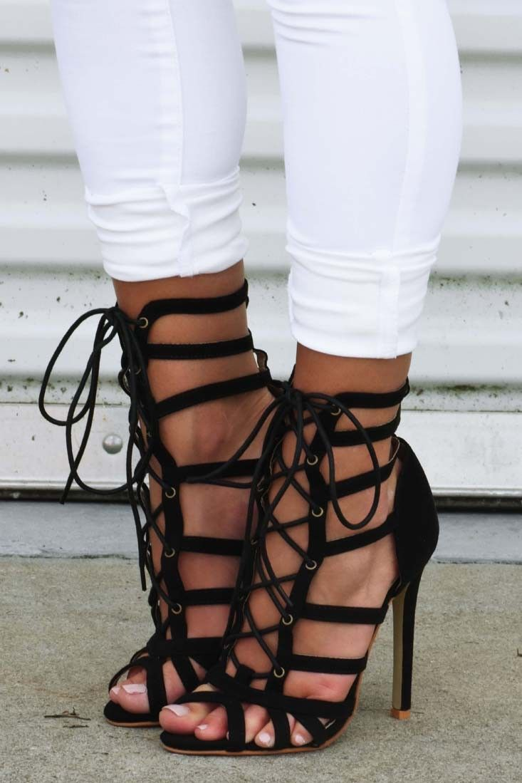 lace up stilettos
