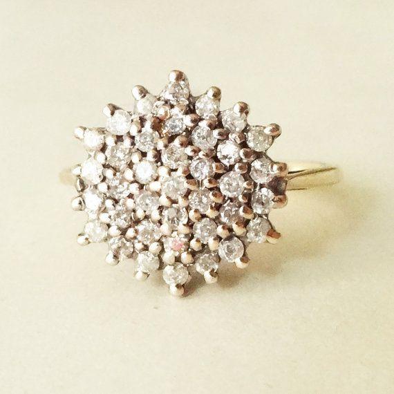 Vintage 9k Gold .50 Carat Diamond Flower Cluster Ring, Diamond & Gold Wedding Ring Approximate Size US 6.25