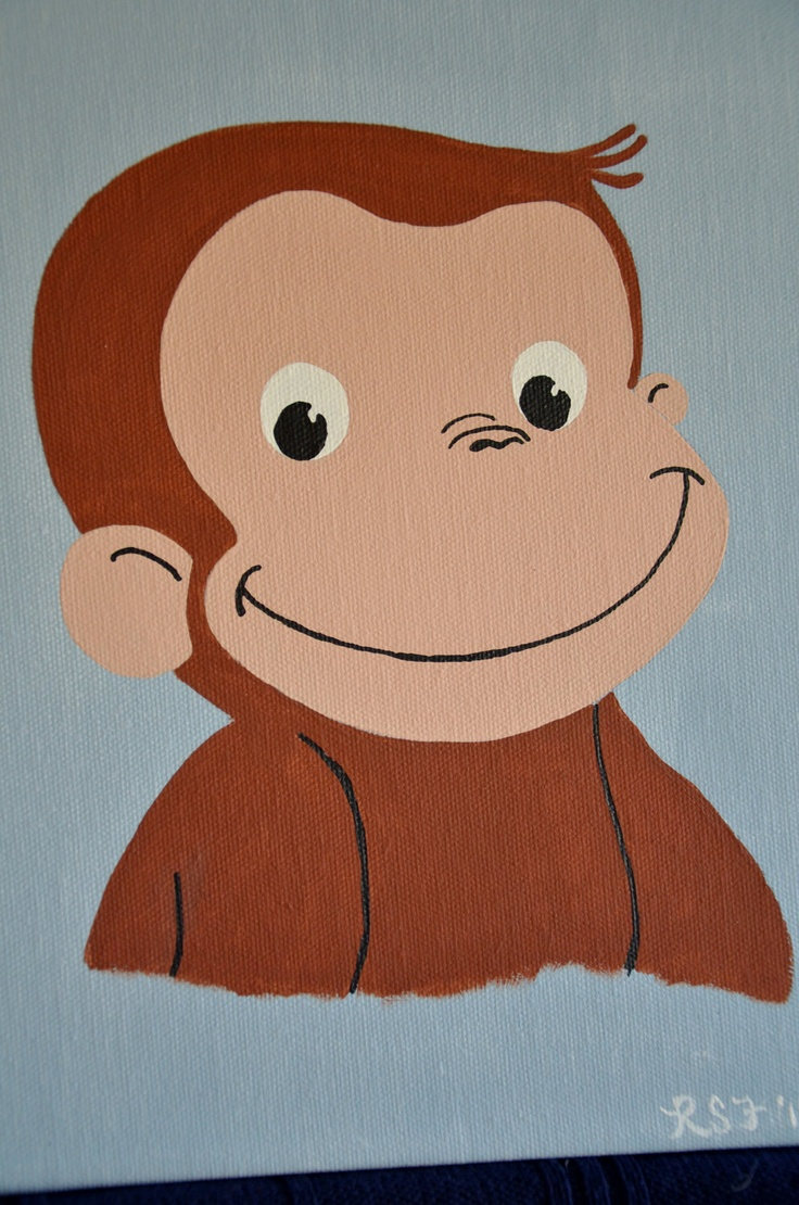 Curious george artwork for a boy 39 s room nursery for Curious george bedroom ideas