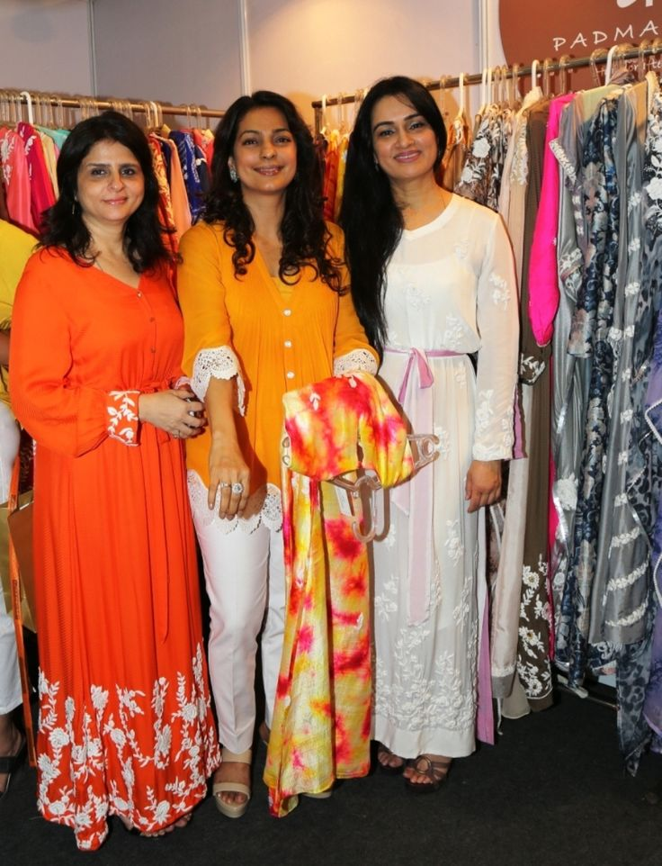 Sita Talwalkar, Juhi Chawla and Padmini Kolhapure at the launch of Padmasitaa by Padmini Kolhapure & Sita Talwalkar at IMC Ladies' Wing Exhibition