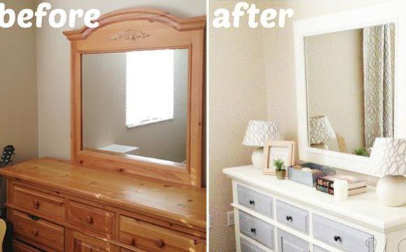 Penteadeira antes e depois